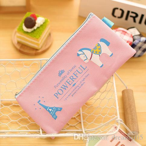 New Cartoon Cute Horse Pencil Bag Rectangle Canvas zipper Pencil Cases Creative Student's Stationery Fabric Bags Cosmetic Bag Zero Wallet