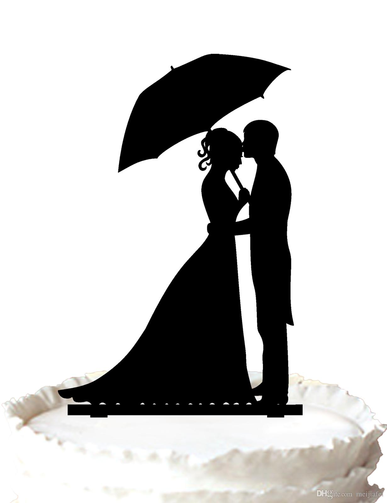 Wedding Centerpiece Umbrella with Cake Topper Bride and Groom Decoration 2 Pc