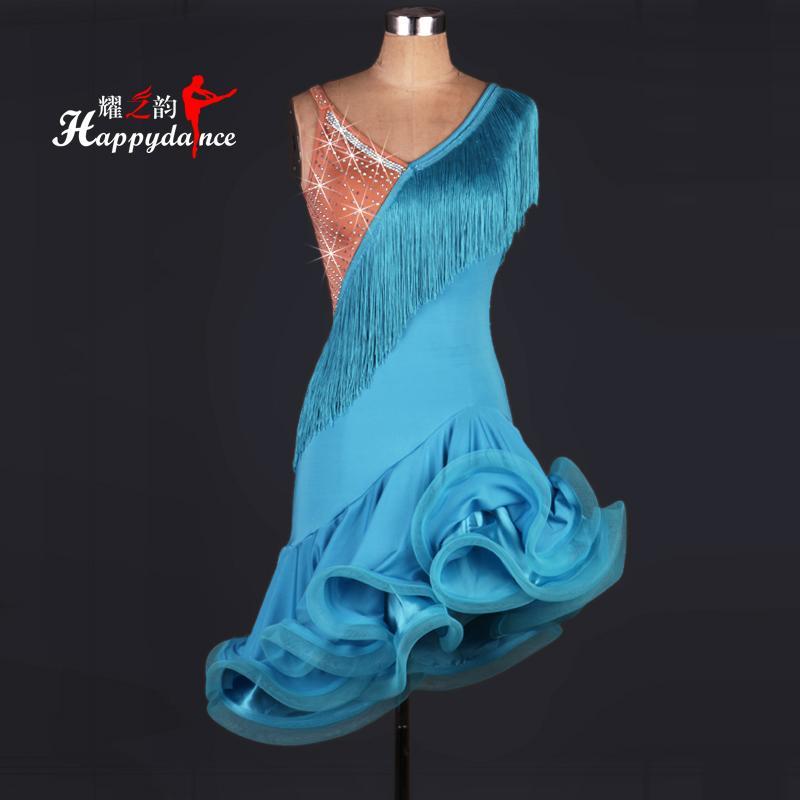 2016 Vestito da ballo latino su misura Strass Donna Abbigliamento per ballo Costumi da ballo Nappa Abito da ballo per abito da ballo da donna