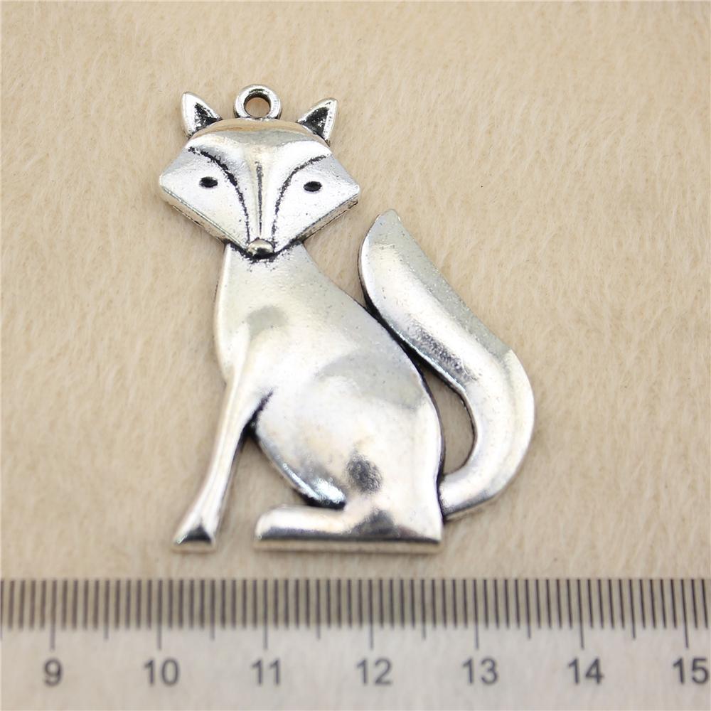 5pcs 50 * 37 milímetros antigos prata Tonefox encantos liga de zinco DIY artesanal jóias atacado Pingentes