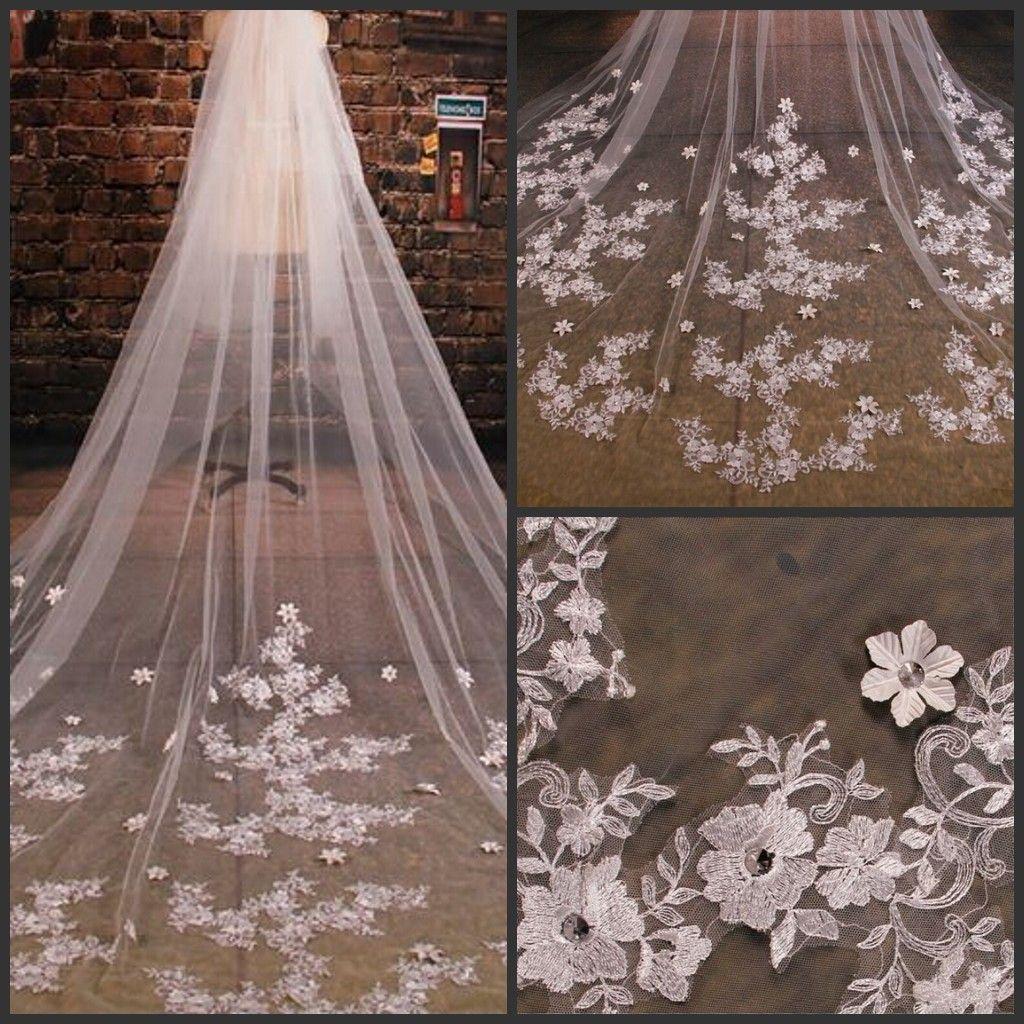 2021 Großhandel Bridal Veils Styles Tüll Hochzeit Schleier Spitze Perlen langes Zubehör