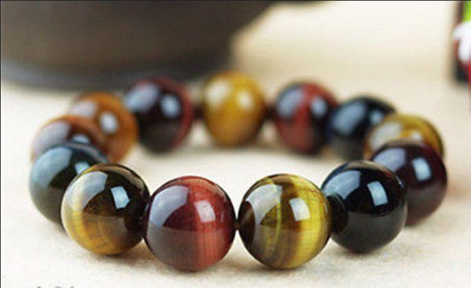 Rare Natural 8mm-10mm multicolor Tiger Eye Stone piedras preciosas cuentas redondas pulsera