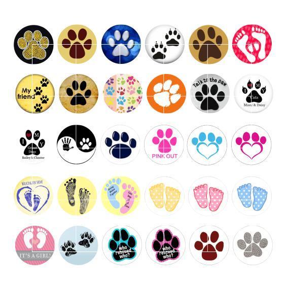 Frete Grátis Dog Palm Snap Botão Jóias Charm Popper para Pulseira 30 pçs / lote GL050 Jóias fazendo