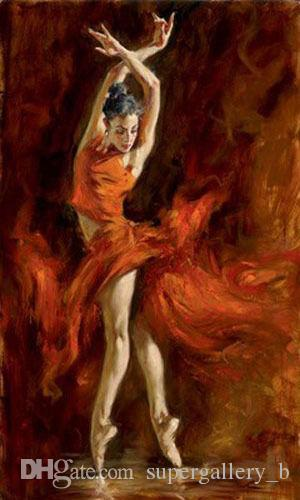 Framed Young Ballet Girl Fiery Dance,Hand-painted Female Portrait Art Oil Painting Home Wall Decor on Quality Canvas Multi Sizes Available
