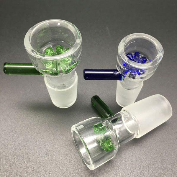 Accesorios para fumar Cuenco de vidrio de 14 mm 18 mm Green Azul Cuencos coloridos Ajuste Ajuste de las plataformas de aceite Bongs Tubos de agua