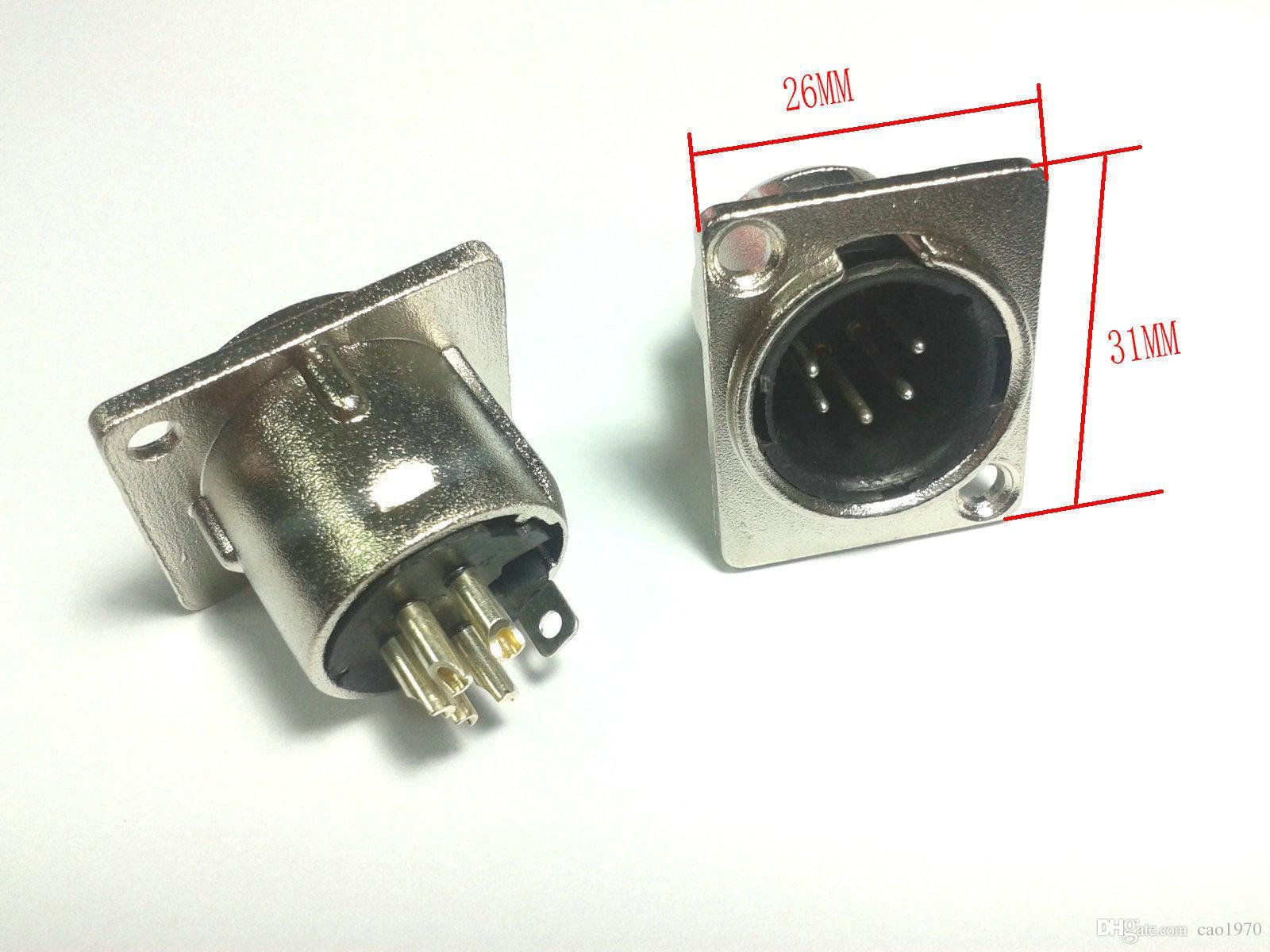 20pcs XLR 5-Pin mâle châssis monté prise panneau pour casque intercom DMX