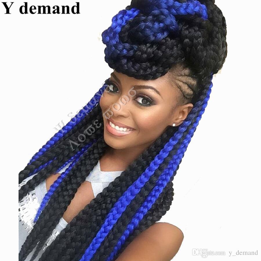 """Синий X-прижимное Braid Расширение Фиолетовый Ультра Braid 82"""" 165г 3шт / много синтетических волос Для плетенки Fasle Bulk Jumbo плетение волос"""