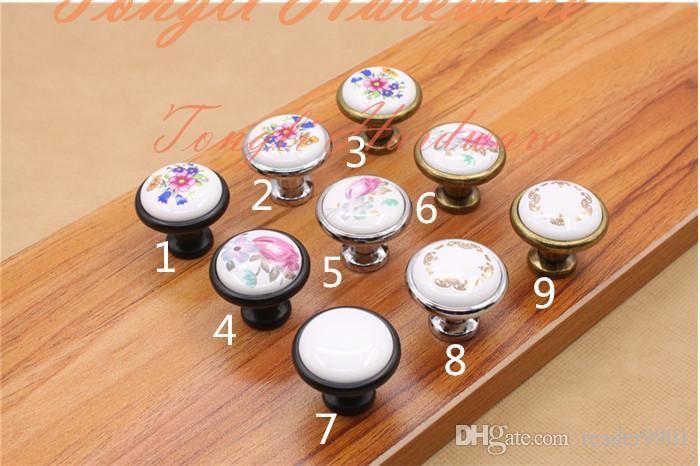Single flower antique copper silver black ceramic cabinet knobs handles in kids children bedroom drawer pulls kitchen cupboard handles #31