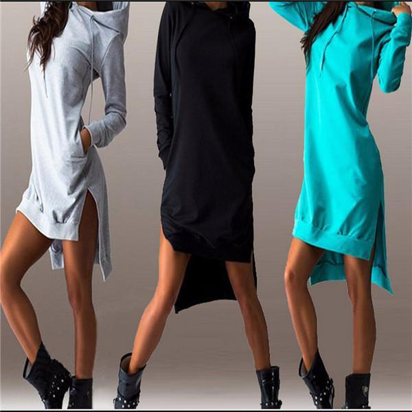 2016 Nuovo arrivo inverno vestito in cotone O-Collo manica lunga moda casual stile irregolare solido vestito con cappuccio da donna