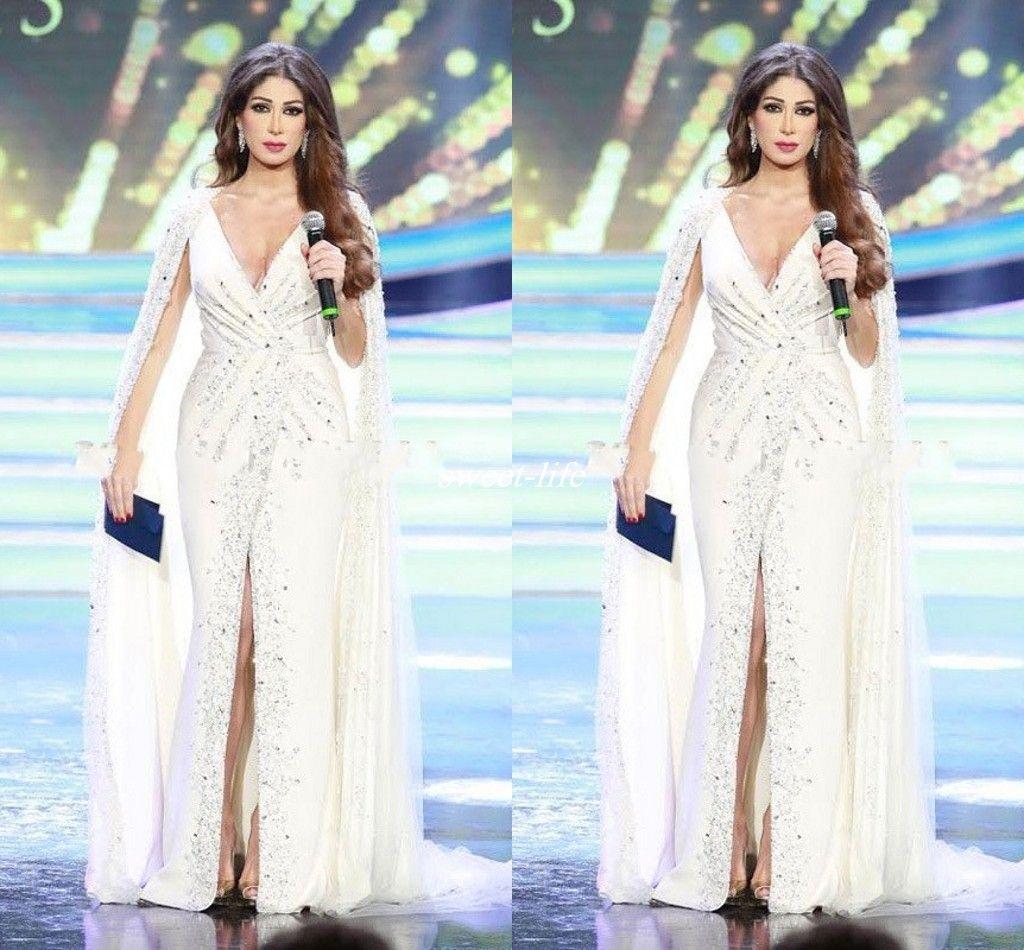 Nancy Ajram Branco Dividir Vestidos de Noite com Cabo Profundo Decote Em V Beading Chiffon Até O Chão 2020 Estilo Árabe Celebridade Formal Vestido Vestidos de Baile