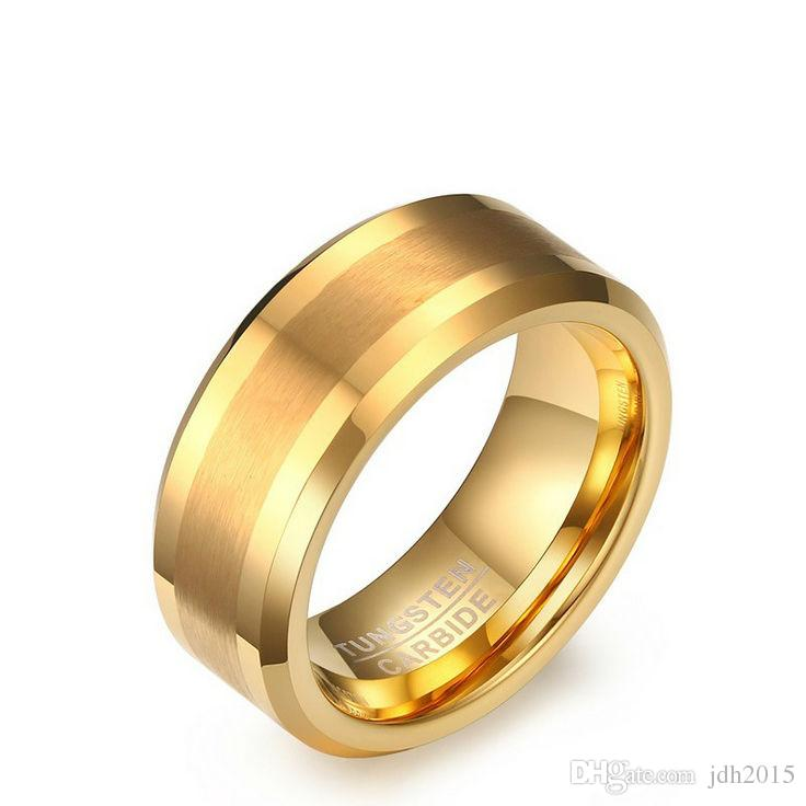 Grabado libre 8 mm oro carburo de tungsteno anillo mate cepillado centro biselado borde Mens Band Band EE. UU. Size7-13 (dejar mensaje sobre el grabado)