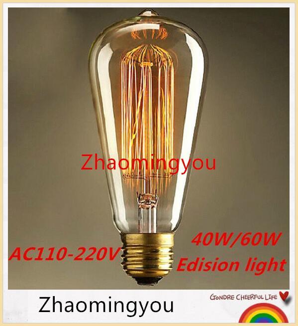 40 W / 60 W Clássico Vintage Retro E27 Filamento ST64 Edison Lâmpada Luz Branco Quente 110 V 220 V Lâmpada Incandescente Antiga