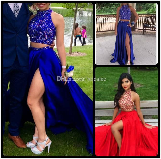 012186abeb36 Two Piece Royal Blue Long Prom Dresses 2017 with Rhinestones High Slit High  Satin Beading Graduation Evening Gowns