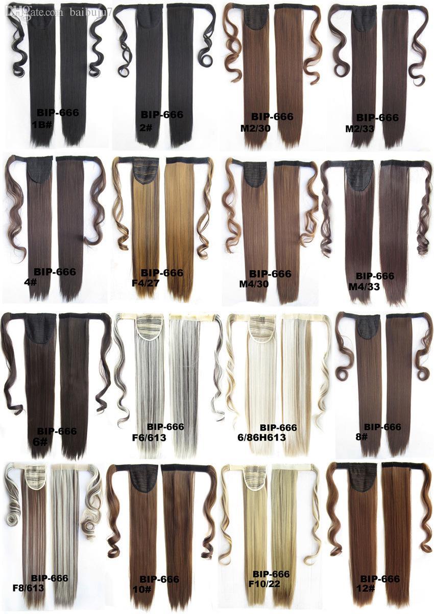 Wholesale-1 pc 22 polia 90g sintético clipe reto longo em fita rabo de cavalo extensão de cabelo pônei peças de cabelo rabo