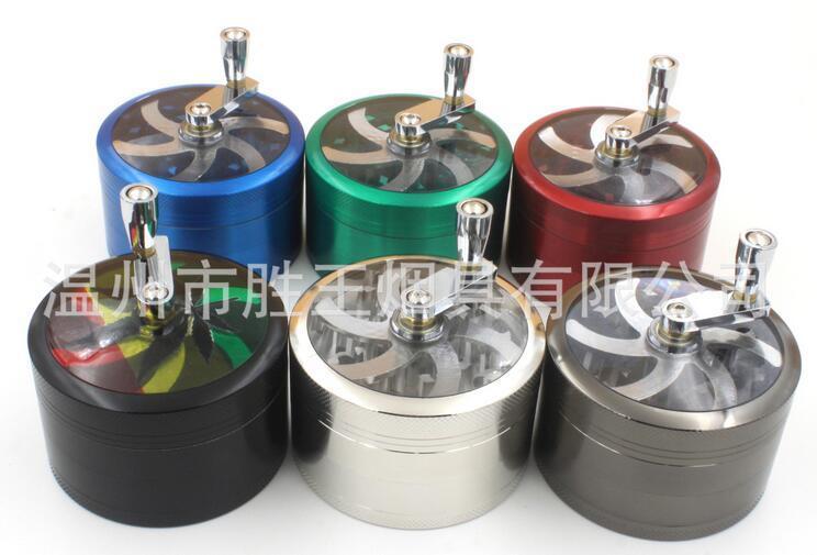 broyeur d'herbes 75 * 51mm 4layers alliage de zinc manivelle manivelle de tabac moulins en métal pour les herbes moulins d'herbes pour le tabac DHL