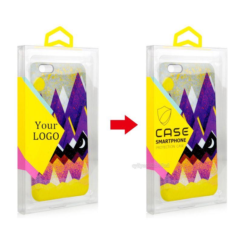 Оптовая торговля Розничная DIY Пользовательский ЛОГОТИП Прозрачная ПВХ Упаковка Красочные Вешалка Коробка для Чехол для Мобильного Телефона с Внутренним Лотком