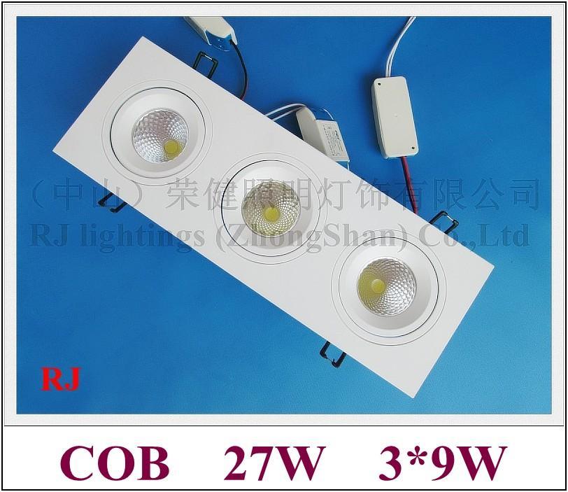 Решетка Светодиодный светильник вниз свет потолочный светильник свет в помещении Embeded установить 27W (3 * 9W) COB AC85-265V алюминий CE