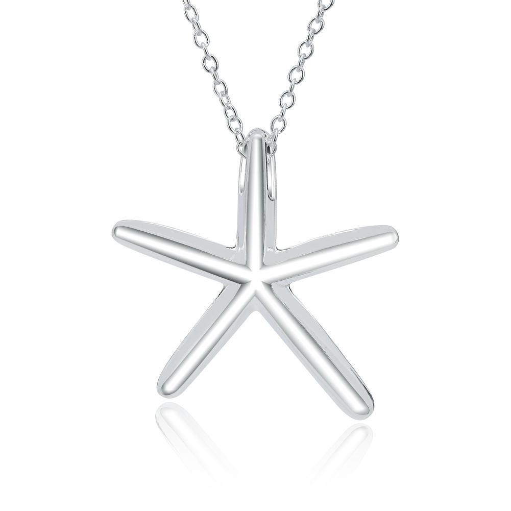 """Ciondolo Starfish Design semplice da donna di gioielli all'ingrosso sul girocollo da donna 18 """"in argento sterling 925"""