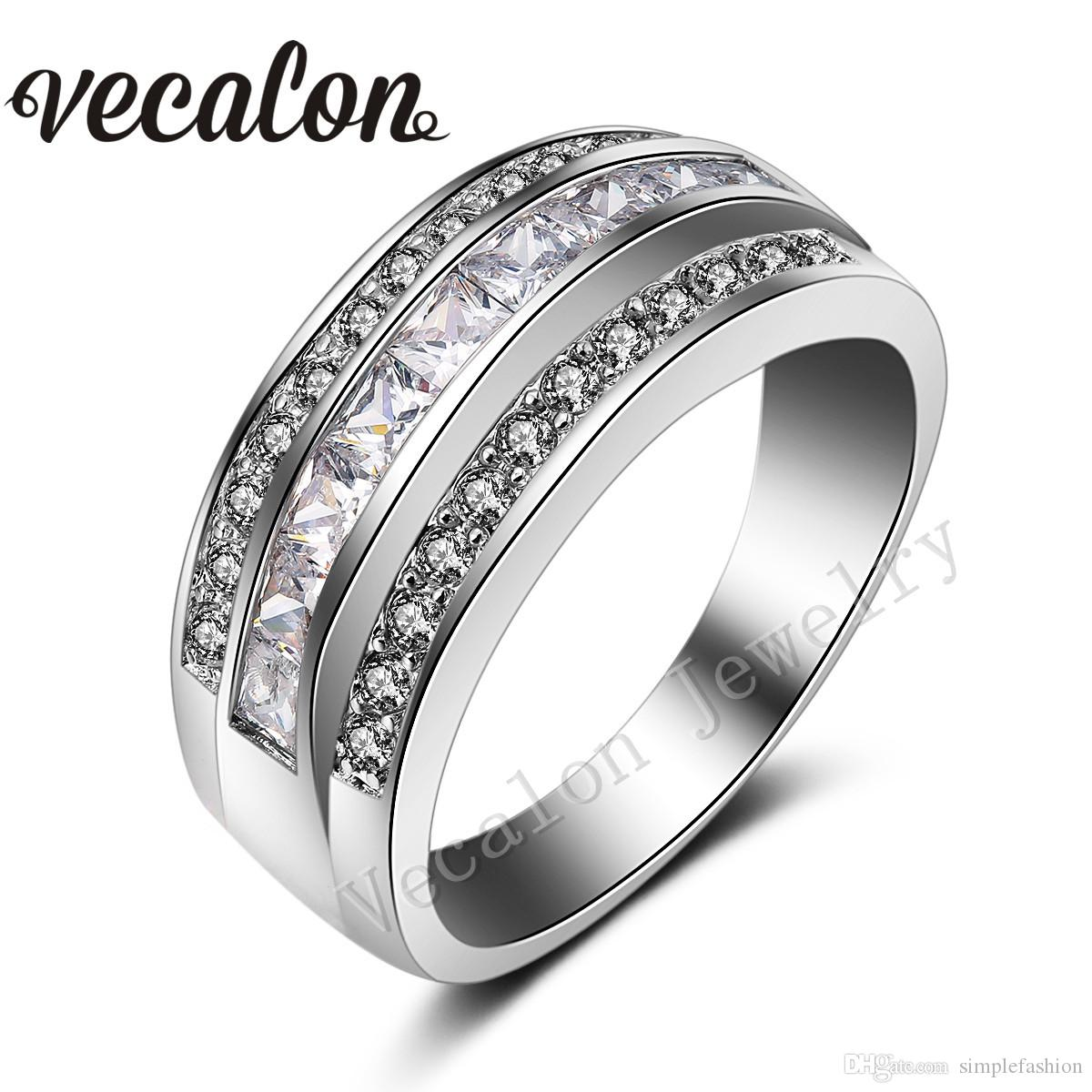 Vecalon BrandFashion Topaz Simulated diamond Cz Engagement Wedding Band ring for Women 10KT White Gold Filled Female Party ring