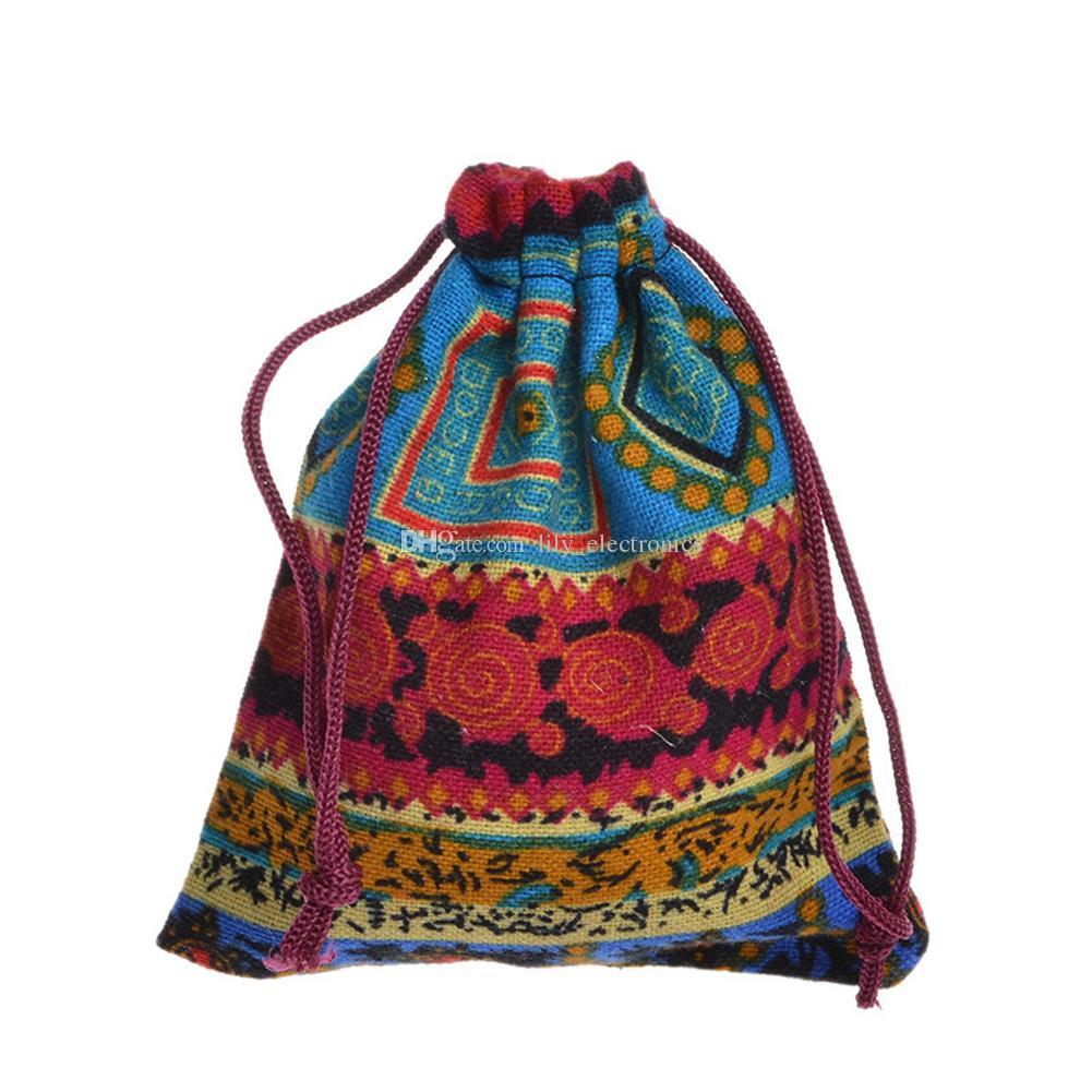 La borsa etnica della borsa del gioiello del sacchetto della borsa del regalo della caramella del cotone della borsa del cordone 25PC colore invia a caso