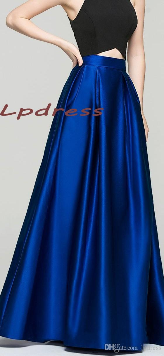 fashionable and attractive package famous brand newest style of 2019 Top Quality Satin Royal Blue Skirts Long With Pockets Skirts High  Quality Long Satin 2016 Fall Winter Skirts Burgundy,Coral,Champagne From ...