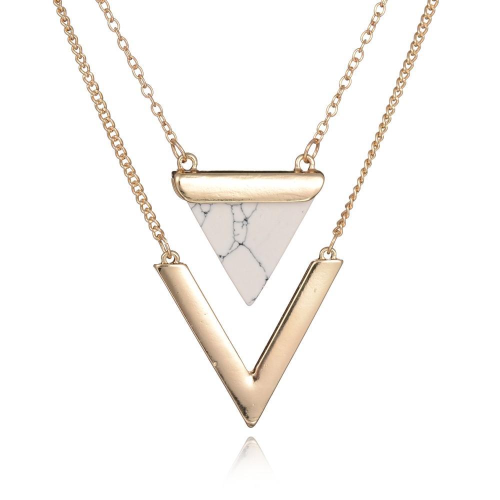 النساء الذهب اللون الشرير القلائد من الهند الساخن الهندسي مثلث فو حجر الرخام قلادة قلادة خمر المجوهرات
