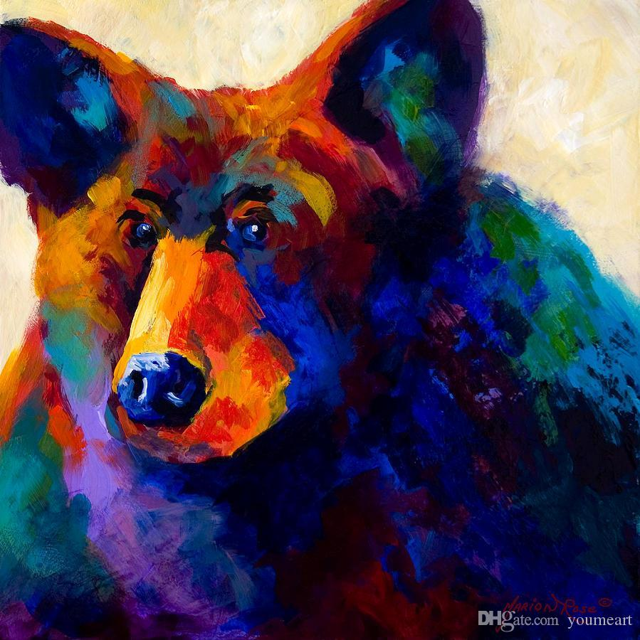 YOUME ART beary nice black bear Giclee bison head color study oil painting arts and canvas wall decoration art Oil Painting on Canvas MRR060