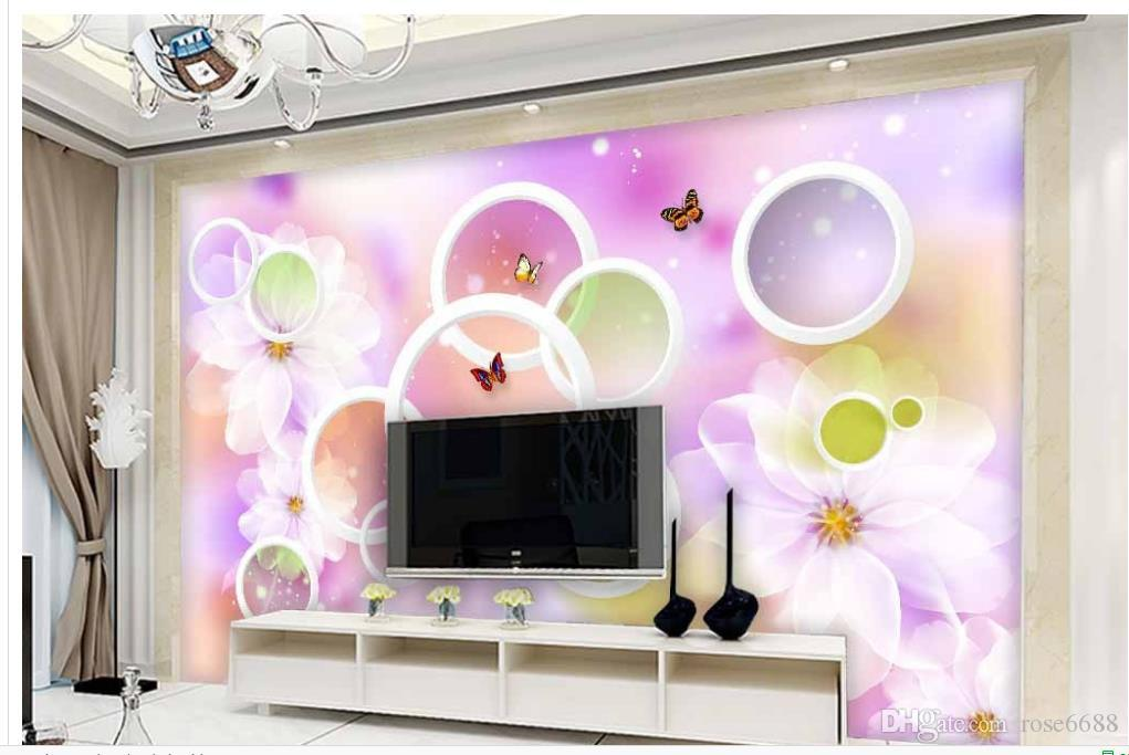 ... 3d Customized Wallpaper Modern Living Room Wallpapers Modern And Simple  3D Circle Transparent Flowers Wall Mural ...