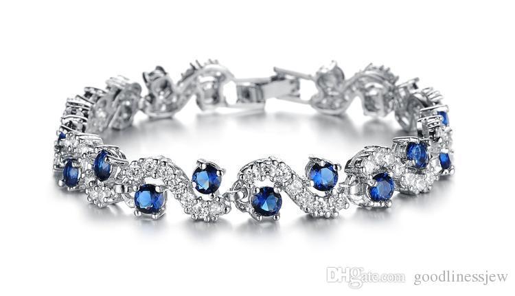 Braccialetto Bangle Moda platino placcato blu cristallo pietra bracciali Braccialetti lusso romantico matrimonio gioielli regalo braccialetti con ciondoli