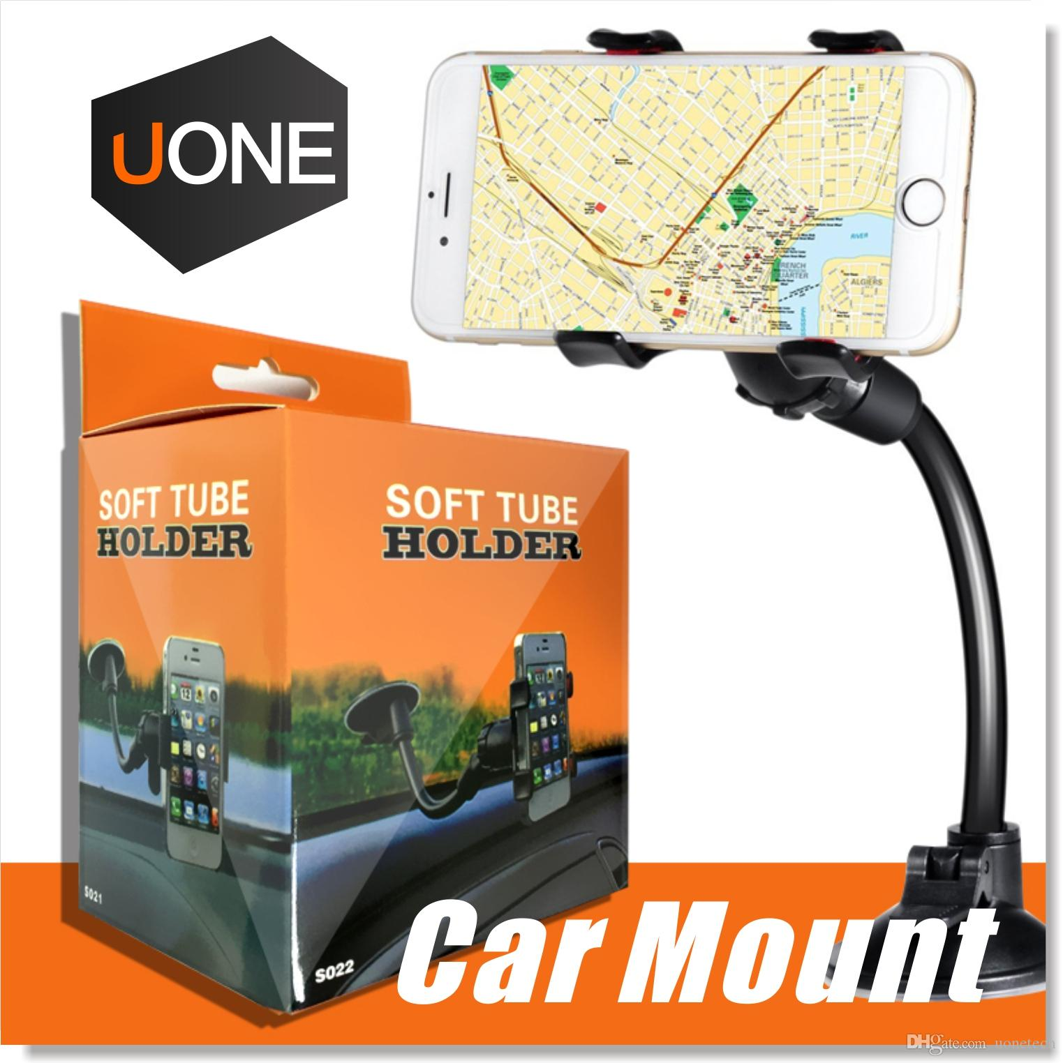 [UPDATE VERSION] Car Mount,Long Arm Universal Windshield Dashboard Cell Phone Car Holder with Strong Suction Cup and X Clamp for iPhone 6/6s