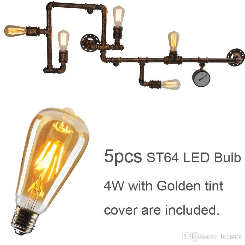 물 파이프 LED 조명 조명 벽 램프 Sconces 실내 인테리어 빈티지 레트로 장식을위한 5PCS 필라멘트 LED 전구 브라운 블랙 셸