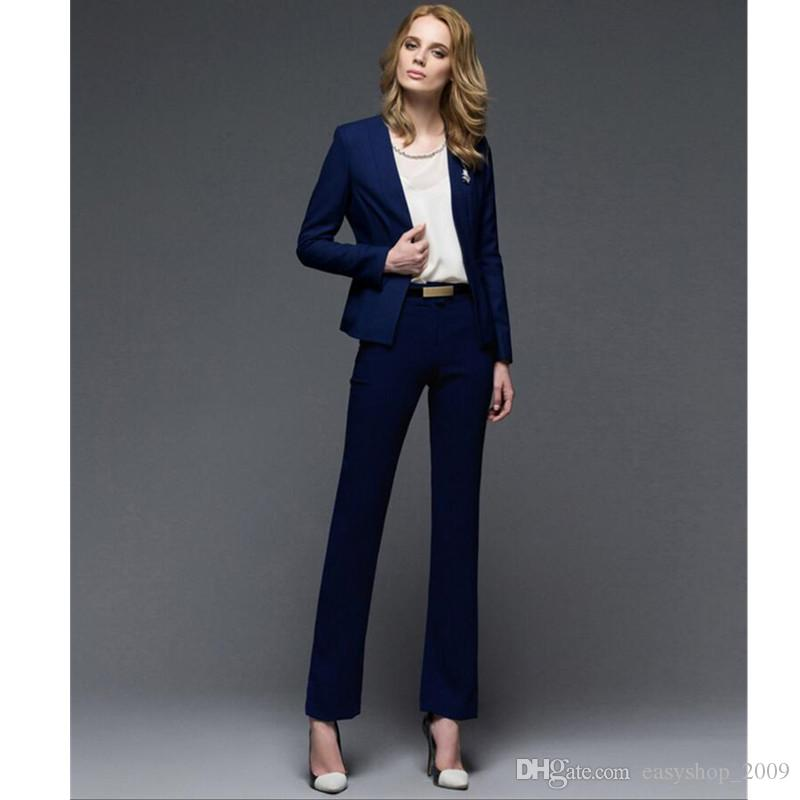 Women suit western style formal business suits OL suits long-sleeved two-piece wool blended women winter ladies suit