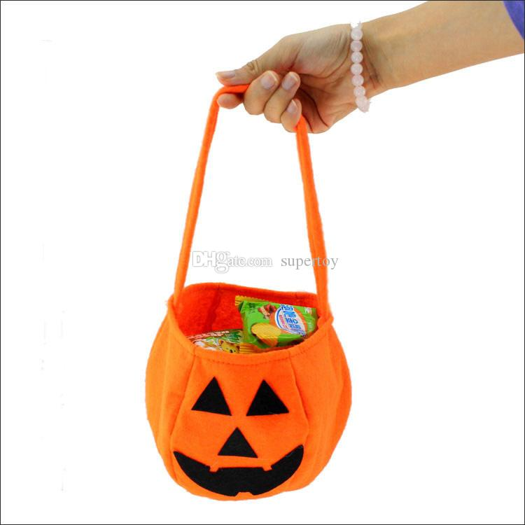New Halloween Pumpkin Candy Bag Trick Treat Cute Smile Basket Face ...