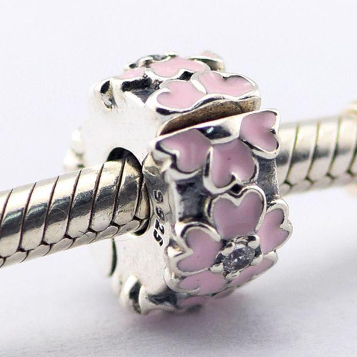 Rosa Prímula Clipe de Luz Rosa Esmalte Claro CZ 100% 925 Sterling Silver Beads Fit Pandora Encantos Pulseira Autêntica DIY Moda Jóias