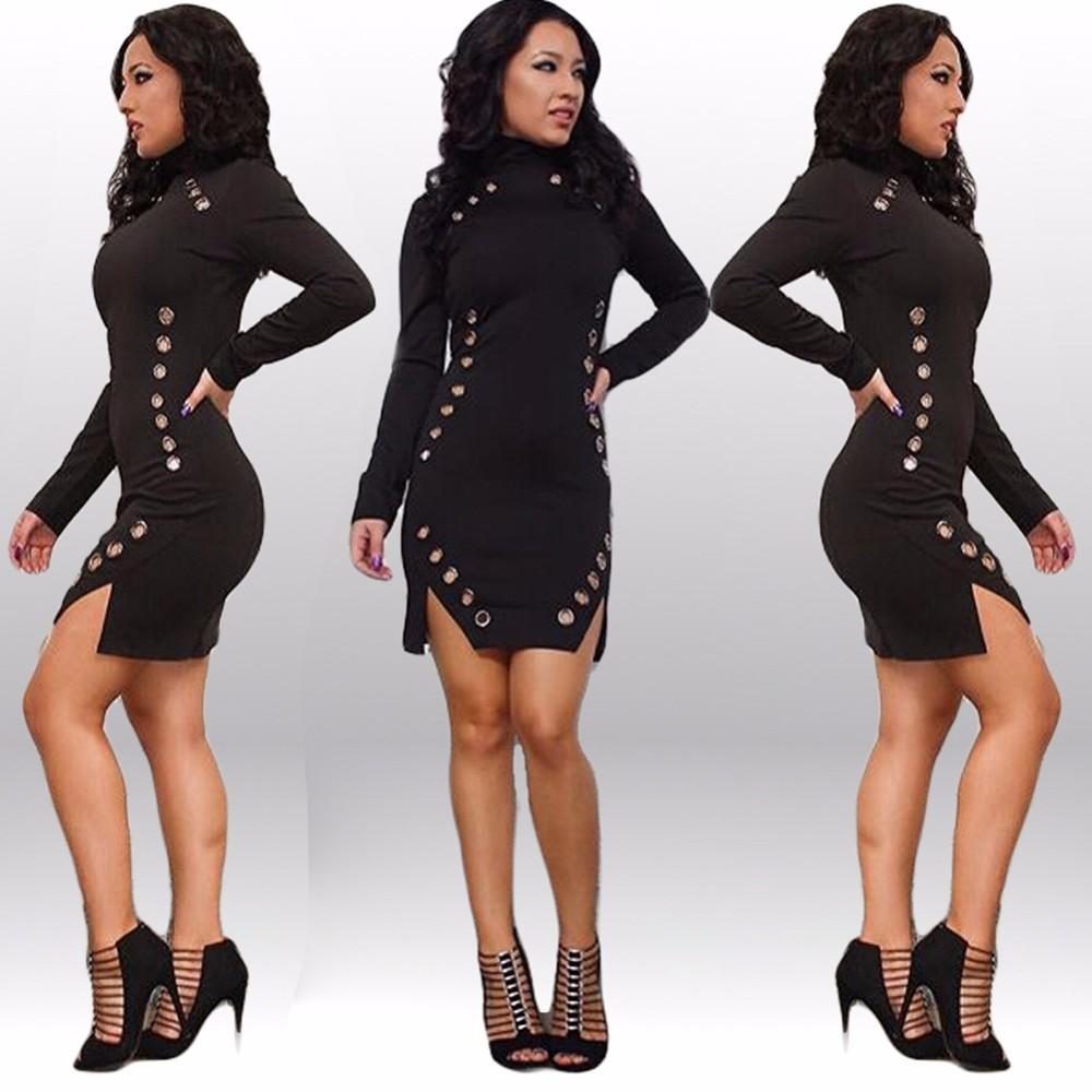 Sexy Black Club Dresses 2016 New Fashion Spring Style Split Mini ...