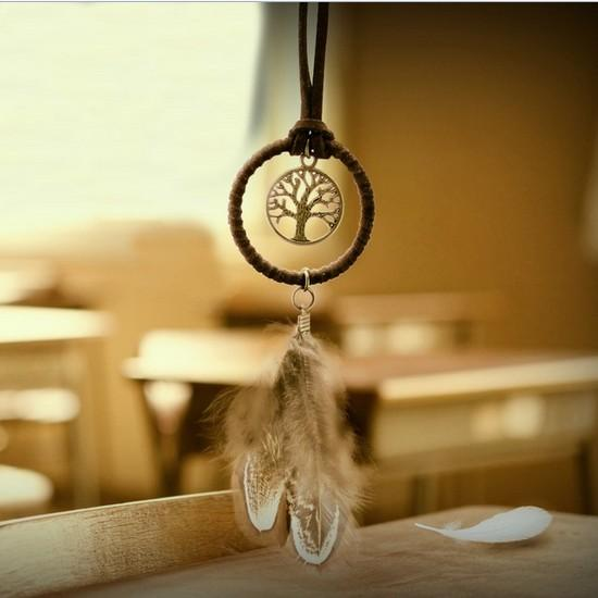 Enchanted Forest Mini Dreamcatcher Handmade Dream Catcher Net With Feather Decoration Car Keychain Ornament Diameter Free Shipping