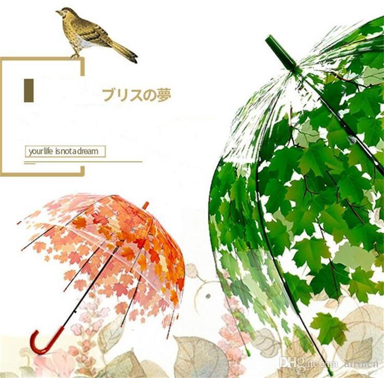 Nouveau 4 Couleurs Épaissir Transparent PVC Champignon Vert Feuilles Pluie Clair Feuille Bulle Parapluie