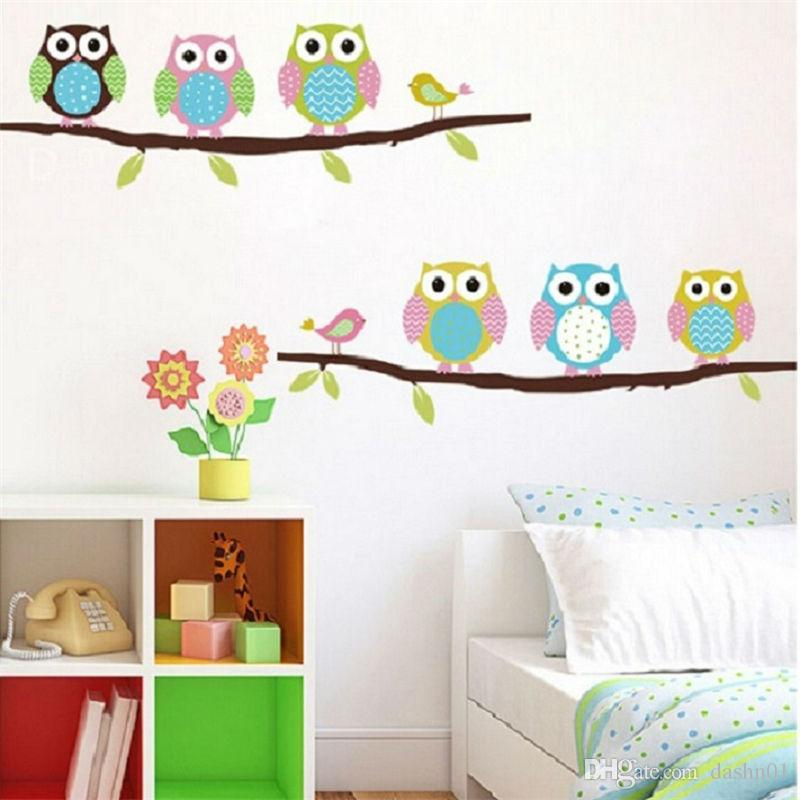 owls on tree wall stickers for kids rooms decorative adesivo de parede pvc wall decal 1020. animal mural art cartoon posters 2.5