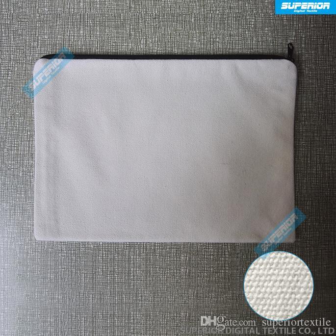 10pcs / lot 7x10in 12oz Pur Coton Porte-Monnaie Avec Doublure Assortie Plain Wallet Simple Avec Nylon Zip Blanc Coton Toile Sac Pour PrintPaint