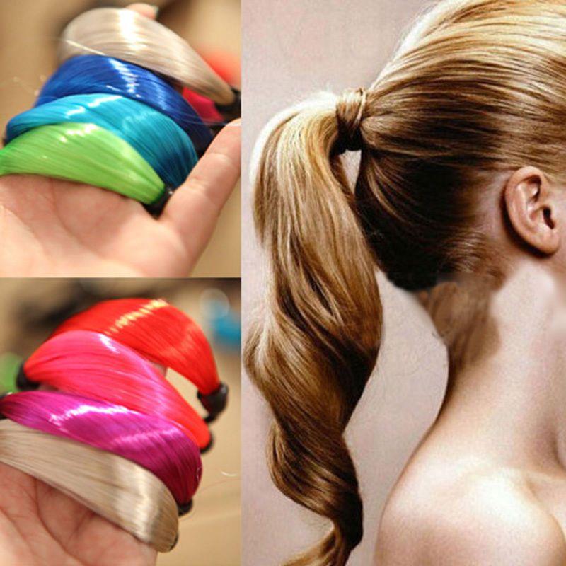 Новые женские девушки прямой парик эластичный диапазон волос веревка резинка для волос хвостик держатель # R58