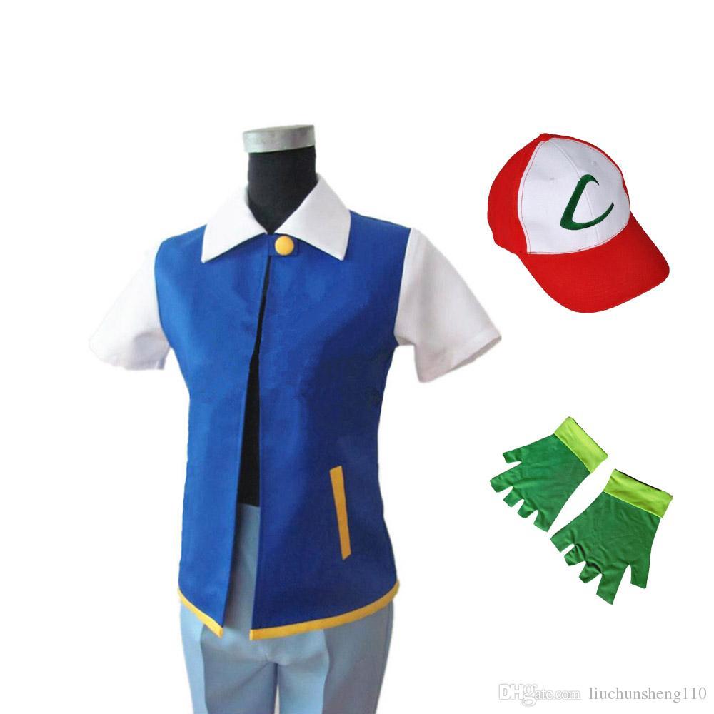 Hot! Costume d'Halloween Ketchum Trainer Halloween Cosplay Unisen Shirt Veste + Gants + Chapeau (Original Véritable Bleu)