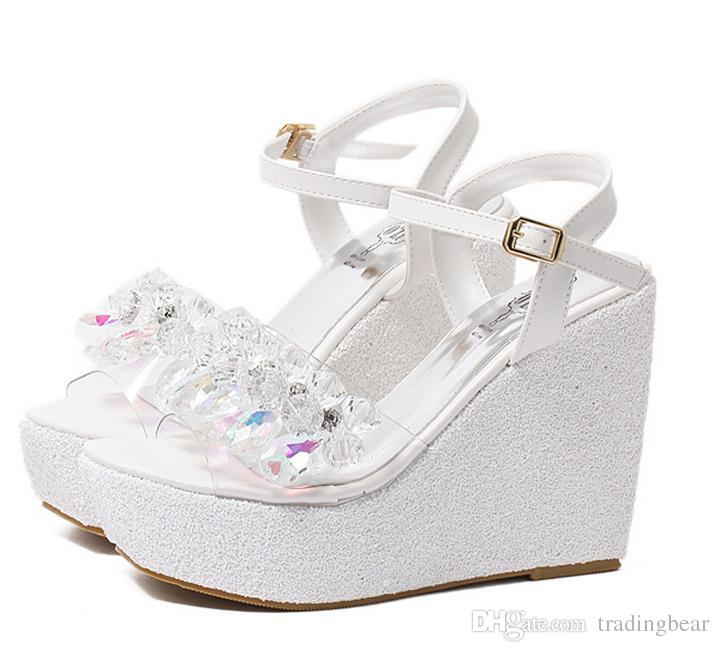 Glitter Wedding Shoes Cinderalla White Silver Crystal Beading Platform Wedges Sandals 12cm Size 34 To 39 Heeled Sandals Boys Sandals From Tradingbear