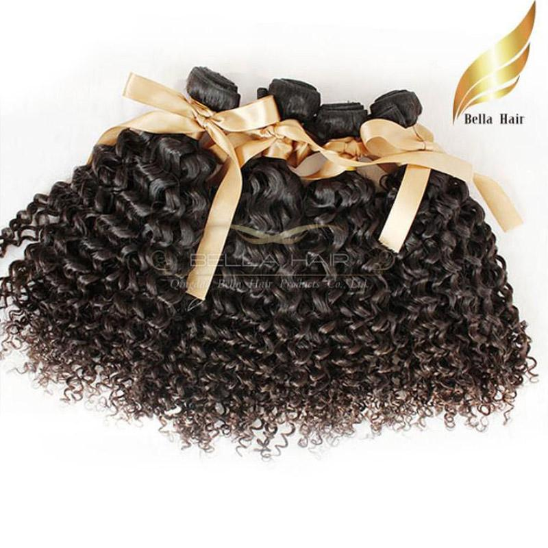 "Mongolian hairExtensions 8""-30"" 4 pcs/lot Deep Curly Hair Natural Color Bellahair"