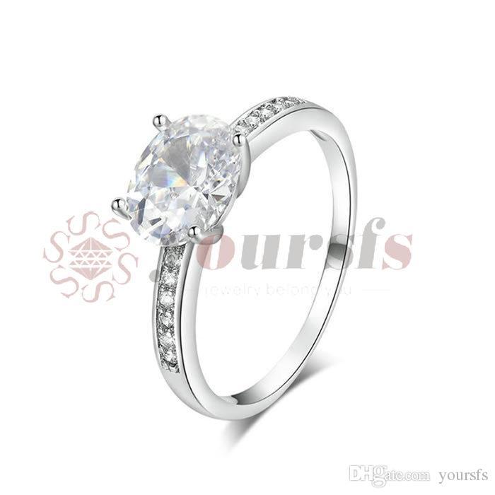 Yoursfs classico 3CT simulato cz diamante diamante fedi nuziali per le donne placcato placcato placcato ovale grande anello ciondolo online shopping in India