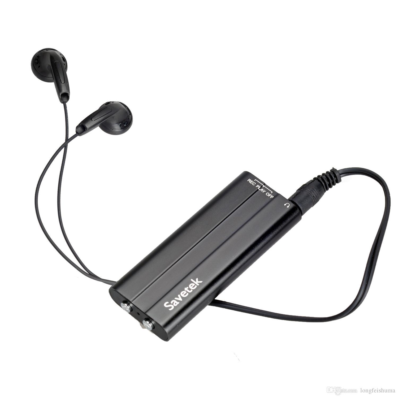 Savetek أحدث 16GB ميني كليب الصوت الرقمي تسجيل صوتي مشغل MP3 USB اللون الأسود الاستشعار صوت تنشيط وظائف التسجيل