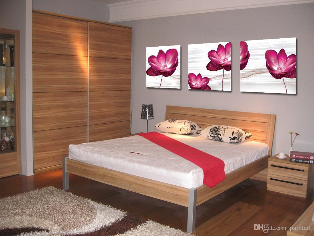 Giclee Print Canvas Wall Art Water Lily Flower Contemporary Floral Painting Home Decor Set30008
