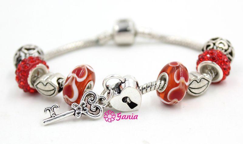 New Arrival Wholesale DIY Jewelry Bracelets Red Heart Lampwork Murano Glass Bead Heart Lock Key bracelets for women Valentine Gift Bracelet