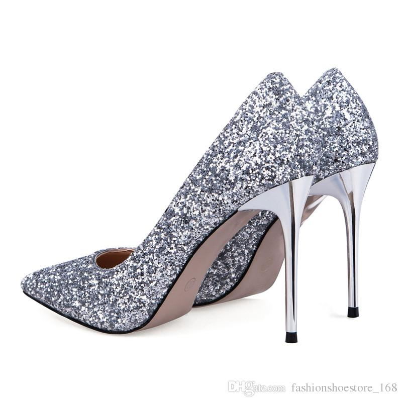 2017 Women shoes High Heels Prom Wedding Shoes Lady Sexy High Heels Silver Glitter Bridal Shoes Thin stiletto Heel Party Pumps