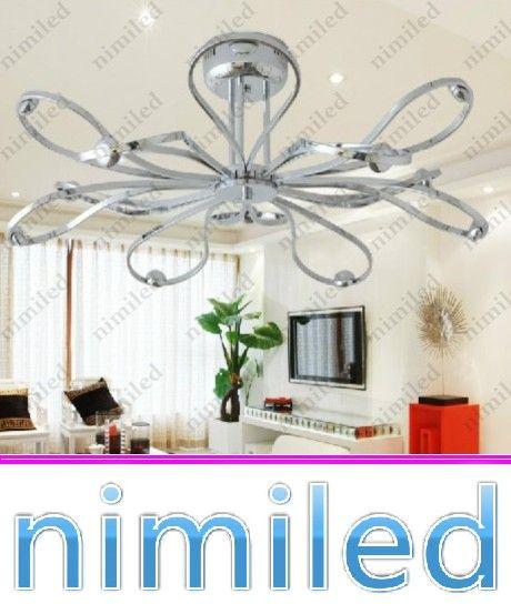 nimi730 디아 76cm 현대 미니멀리스트 크롬 금속 LED 거실 샹들리에 침실 레스토랑 천장 조명 아트 Lotus 펜던트 램프 조명