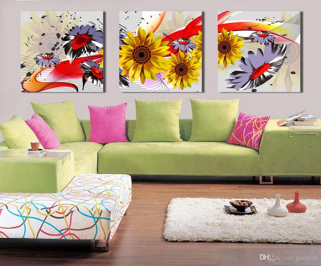 Morden girassol flores abstratas pintura floral impressão em tela de lona decoração da parede set30025